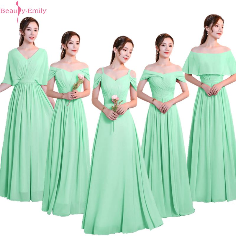 Beauty-Emily Chiffon Green Bridesmaid Dresses 2019 V-neck Lace Up A-line Wedding Party Prom Dresses Formal Dress  Robe De Soiree