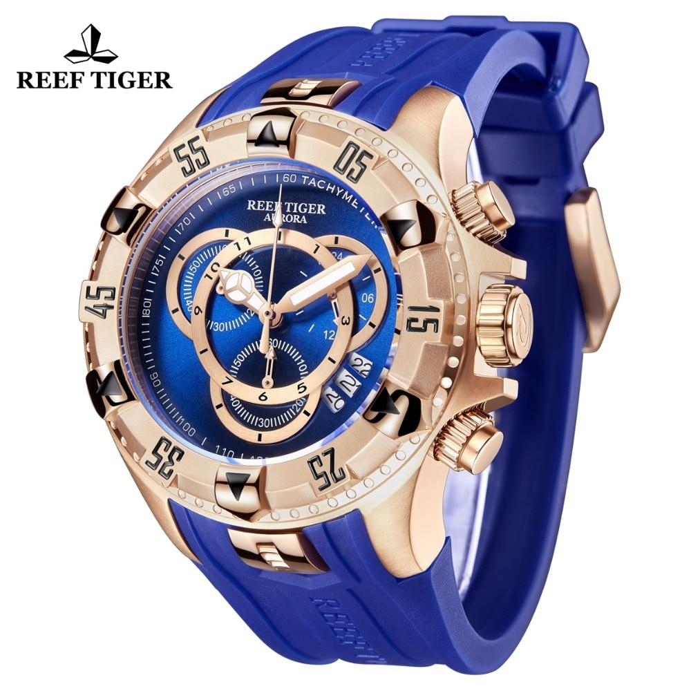 Nuevo tigre de arrecife/RT todos los relojes deportivos de moda azul Reloj de oro rosa para hombre cronógrafo de fecha grande hombre RGA303 2 - 2