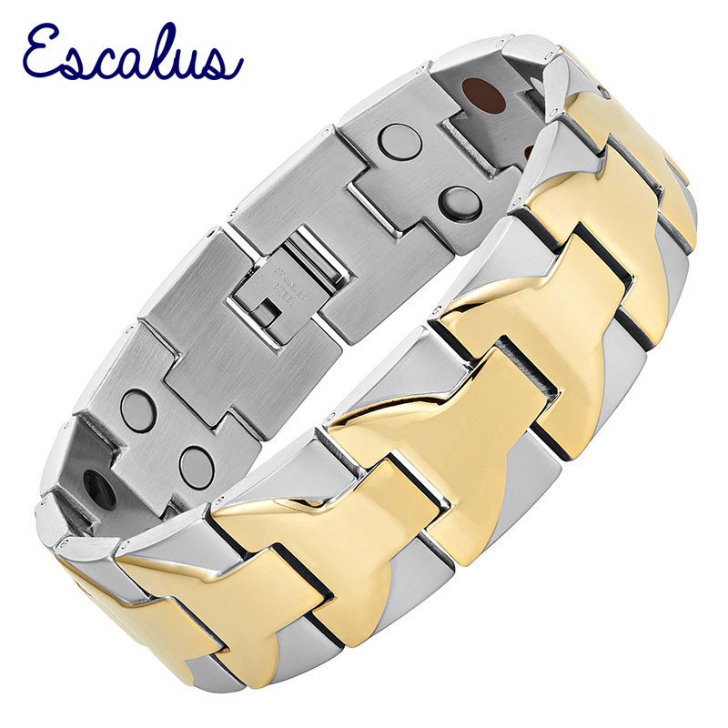 Escalus Large Heavy Men Armband 4in1 2-Tone Gold Farbe Edelstahl Wide Magnetic Magnet Big Bracelet Bangle Wristband Charm