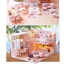 DIY dom dla lalek miniaturowe drewniane światła LED domy dla lalek meble zestaw dzieci zabawki Villa zestaw apartament montażu zabawki prezent na Boże Narodzenie