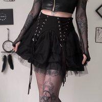 Harajuku Summer Gothic Black Sexy Lolita Party Women Mini Skirts Mesh Lace Goth Hollow Aline Elegant Fashion 90s Short Skirt