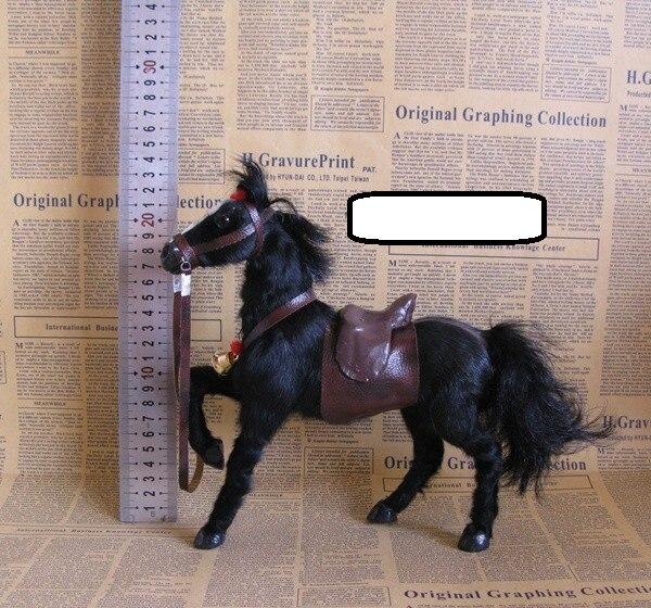 Simulation créative cheval modèle jouet polyéthylène selle noir cheval jouet décoration cadeau environ 23x7x23 cm