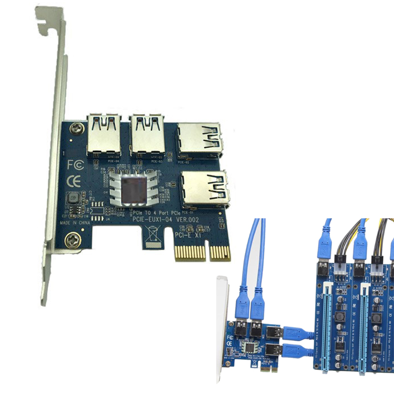 PCI-E PCI Express Card Expand Cards Board PCIE 1 To 4 USB 3.0 Adapter 1x To 4-port 16x Adaptor Riser Card For Bitcoin BTC Mining