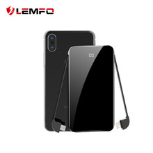 LEMFO Mini Power Bank 8000mah LCD Mirror Screen 2.1A Fast Charging 2 in 1 Built-in Cable Wireless Charger Powerbank 8000 Mah(China)