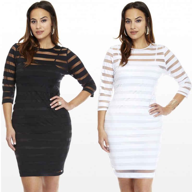2017 Mini robe grande taille Sexy tenue de club moulante soirée rayure Perspective femmes blanc noir o-cou à manches longues Vestido