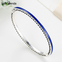 New Authentic 925 Sterling Silver Charm Bead Enamel Radiant Hearts Crystal Bangles Bracelets Fit DIY Pan Beads Jewelry 7 Colors