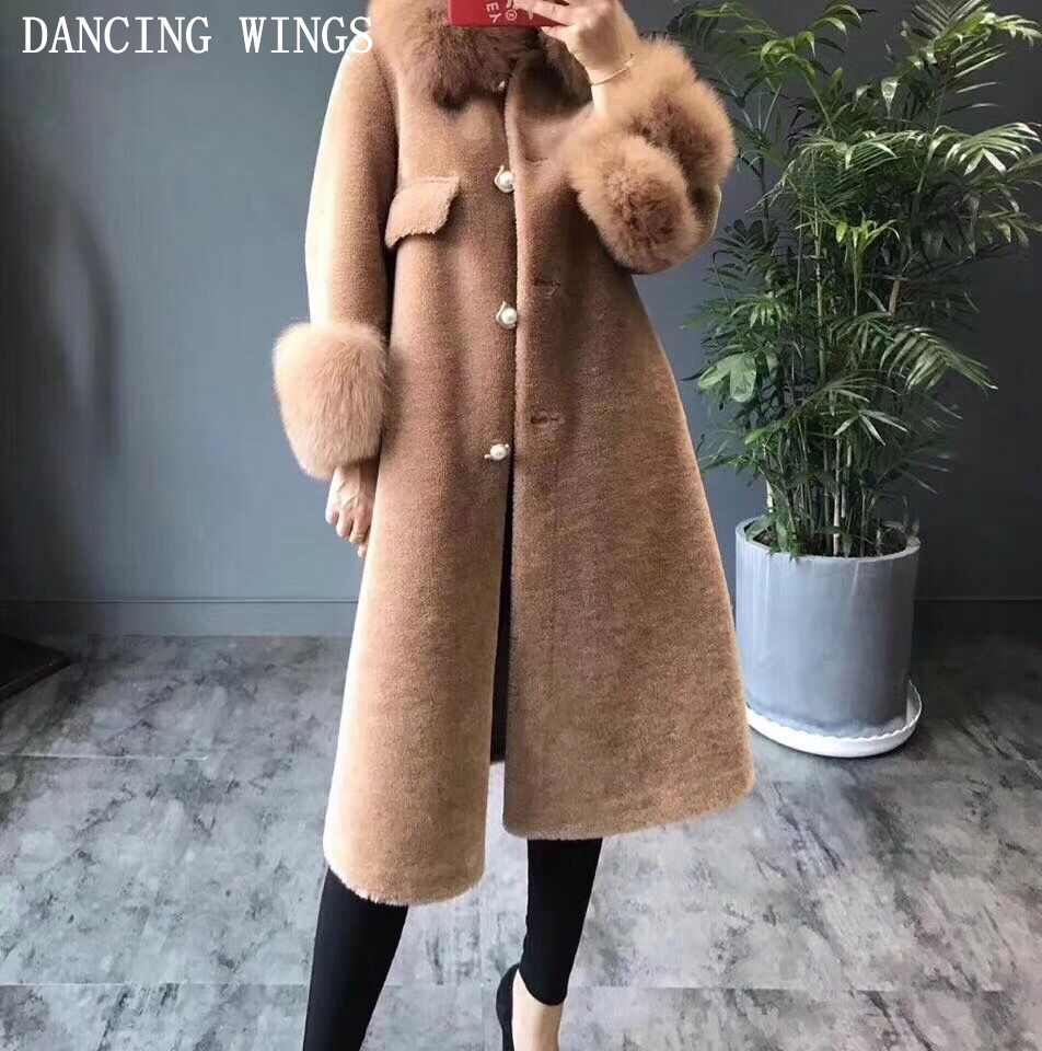Natural Lamb Fur Coat Sheep Shearling Double faced Fur Winter Coat Women Real Fox Fur Collar Long Jacket Warm Overcoat