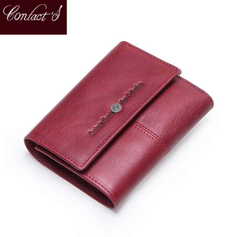 Contact's Genuine Leather Women Wallets Card Holder Zipper Coin Purses Ladies Small Clutch Bag Quality Female Wallet Carteira