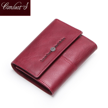 Contact's Genuine Leather Women Wallets Card Holder Zipper Coin Purses Ladies Small Clutch Bag Quality Female Wallet Carteira genuine leather zipper wallet women high quality coin purse fashion female wallets card holder for ladies small purses bag lq016