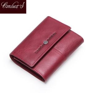 Image 1 - Contacts billeteras de piel auténtica para mujer, Tarjetero con cremallera, monedero pequeño, bolso de mano, billetera