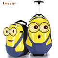 Minions Child Luggage,Despicable Me Suitcase,3D Cartoon backpack,Lovely Gift for Children,primary Trolley Travel Case