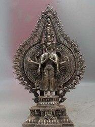 Tybet Stare Biały Miedzi Srebra kwan yin Avalokiteśwara Bodhisattwa Guanyin Posąg w Posągi i rzeźby od Dom i ogród na
