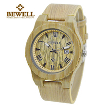BEWELL Top Brand Man's Watches Fashion Leather Band Watch Natural Bamboo Case with Calendar Display Watches ZS-109C все цены