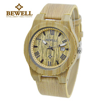 BEWELL Men Watches Real Leather Band Watch Natural Bamboo Case with Calendar Display Cheap Watches From China Drop Shipping 109C