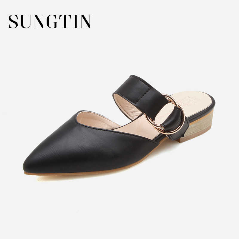 Sungtin Fashion Slip-On Buckle Strap Slippers Women Slides PU Leather Mules Lady Pointed Toe Low Heel Slippers Plus Size 43