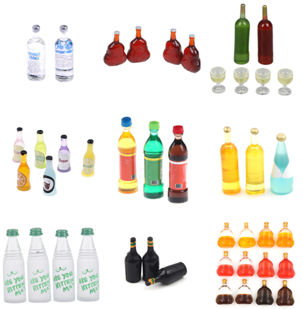 One Set Wine Bottle Doll Food Kitchen Living Room Accessories 1:12 Scale Dollhouse Miniature Toy Simulation Wine Bottles