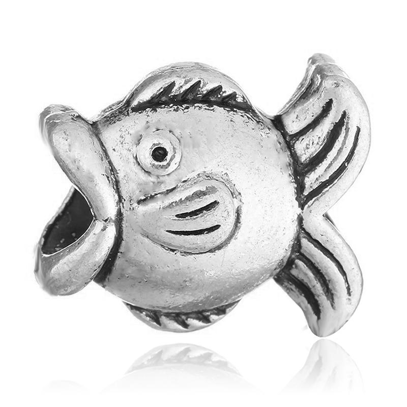 Fashion New alloy big hole Silver plated fish charms european bead for pandora charm bracelets fiy women jewelry
