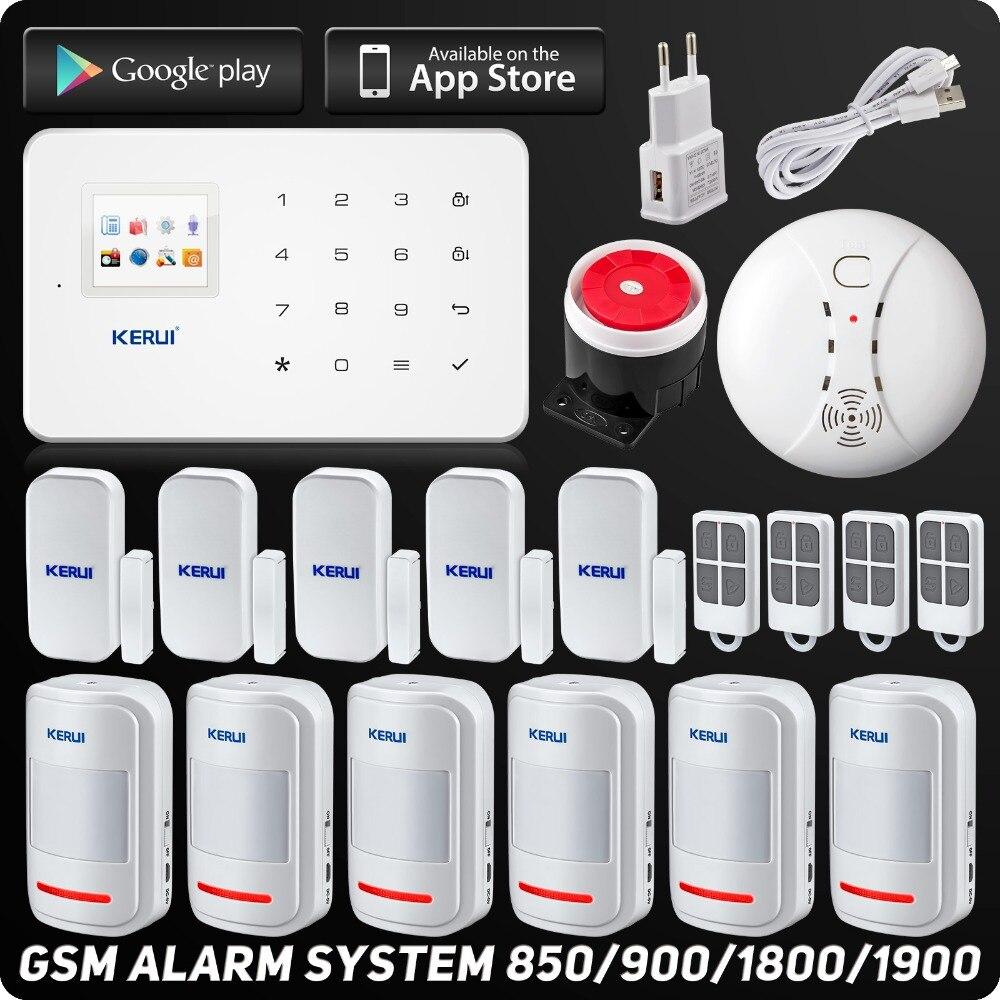 Английский Русский Kerui Беспроводная GSM домашняя охранная сигнализация ISO Android приложение охранная сигнализация беспроводной детектор дыма
