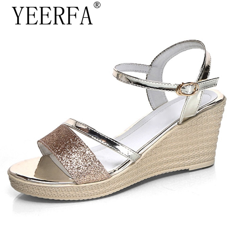 YEERFA 2017 Gladiator Sandals Gold Silver Shoes Woman Summer Platform Wedges Glitters Creepers Casual Women Shoes size 35-40 phyanic gold silver wedges sandals 2017 new platform casual shoes woman summer buckle creepers bling flats shoes phy4040