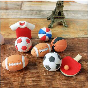 2pcs/lot Kawaii Cartoon Erasers Rubber Football Basketball Olive Shape Eraser Students Small Gift PH109