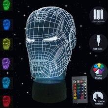 3D Illusion Night Lights Iron Man Mask Avengers Led Lights 7 Colors Usb Desk Table Lamp for Kids Friends Gift Bedroom Nightlight