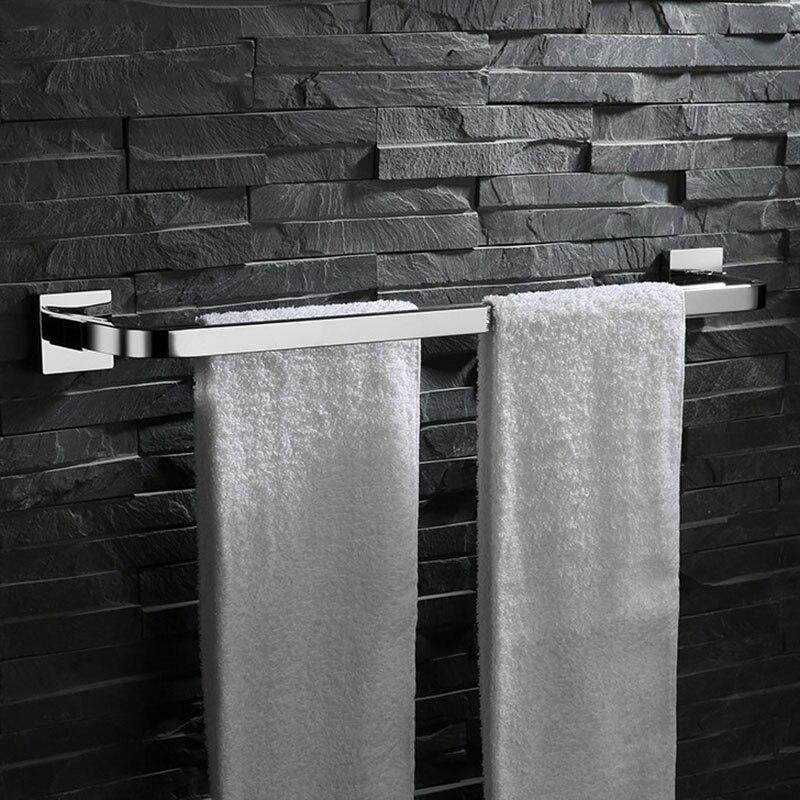 Accessoires de salle de bains miroir polissage Chrome acier inoxydable Double porte-serviettes mural barre de porte-serviettes