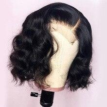 Court Bob perruques pour les femmes vague dentelle frontale perruque noir racines Remy brésilien dentelle avant perruques de cheveux humains naturel ondulé 130%