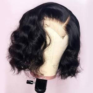 Image 1 - Parrucche corte Bob per donna parrucca frontale in pizzo ondulato radici nere Remy parrucche brasiliane anteriori in pizzo parrucche ondulate naturali 130%