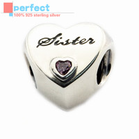Fits Pandora Bracelet Charms Sister S Love Heart Silver Beads For Jewelry Making 100 925 Sterling