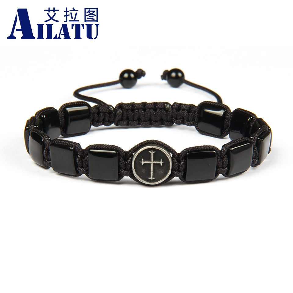 Ailatu Stainless Steel Cross Bracelet with 8x8mm Natural Square Stone Beads Macrame Bracelet