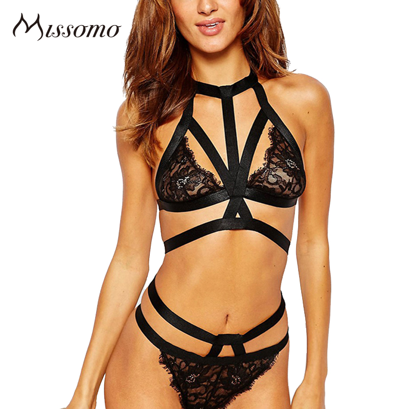 Missomo 2017 new fashion women black halter top sexy choker bra lace underwear straps bralette panties