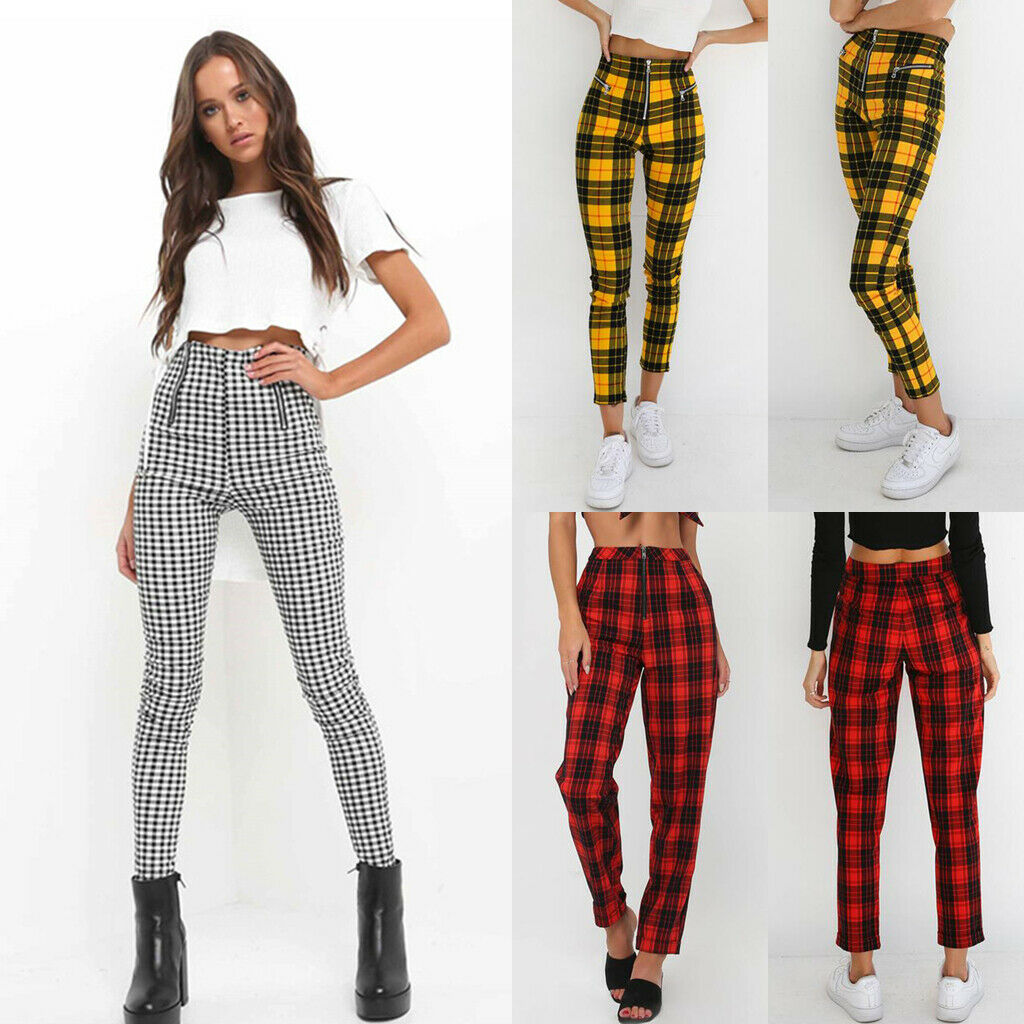 2019 New Women Fashion Pants High Waist Elastic Zipper Sexy Pant  Plaid Casual Trousers