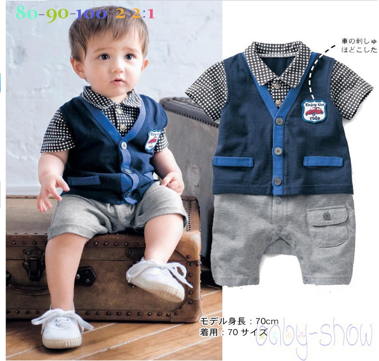 2016 New Baby Boy Romper Plaid Collar Shirt And V Neck Sweater Short