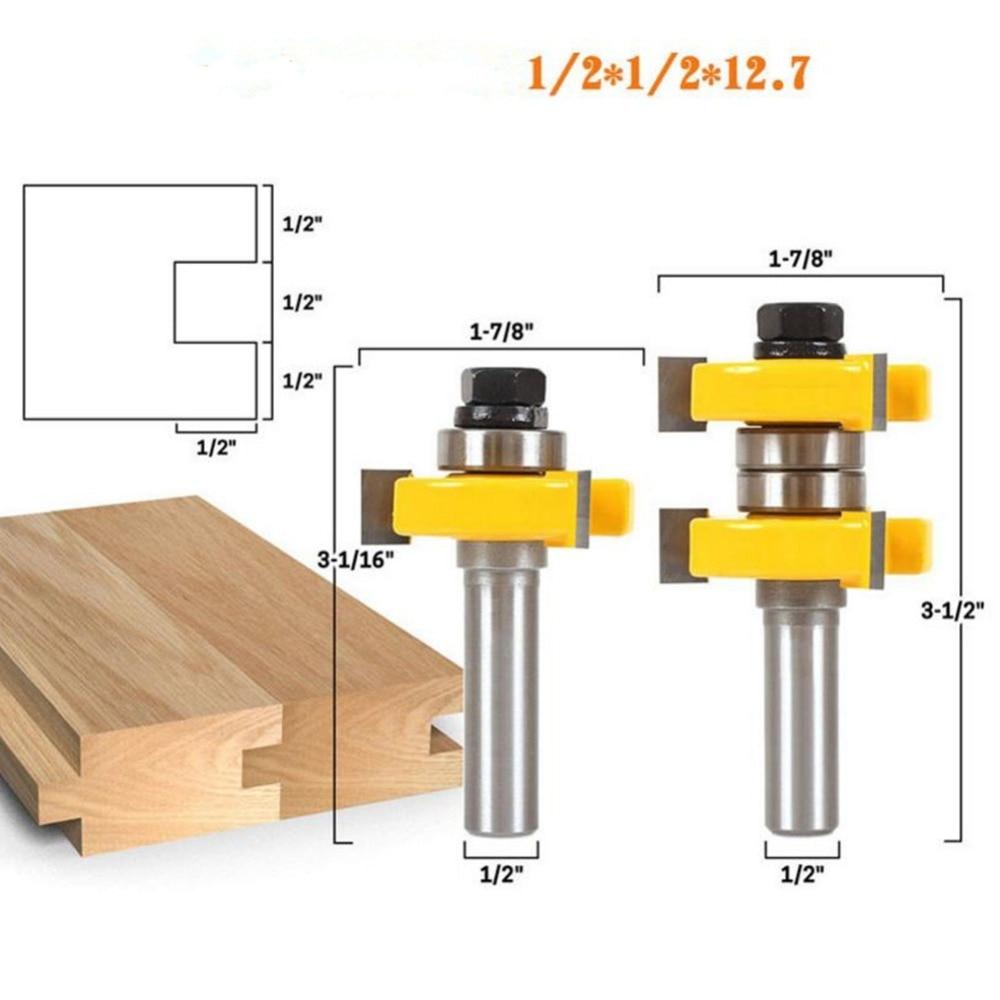2 PCS Routeur Bit Set 1/2 ''Shank 1/2*1/2*12.7 Routeur Bits Pour Bois Outil de Gravure Fraisage Cutters 3 Dents T type HT07