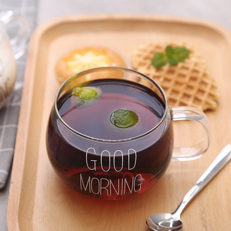 Good Morning Transparent Creative Glass Coffee Tea Drinks Dessert