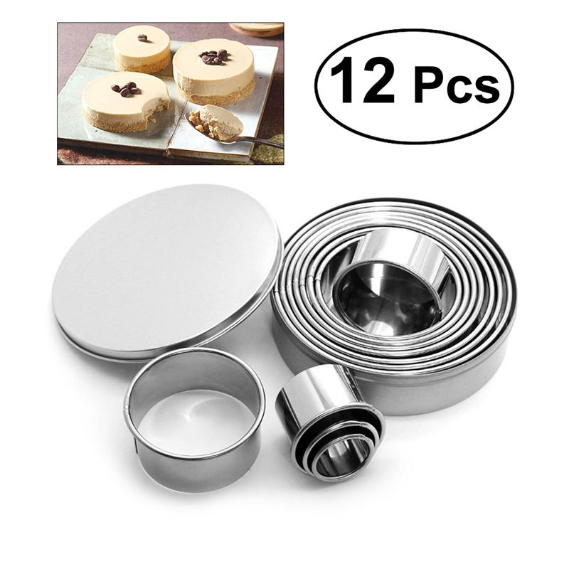 12pcs Round Shape Pastry Cutters Cake Cookie Biscuit ...