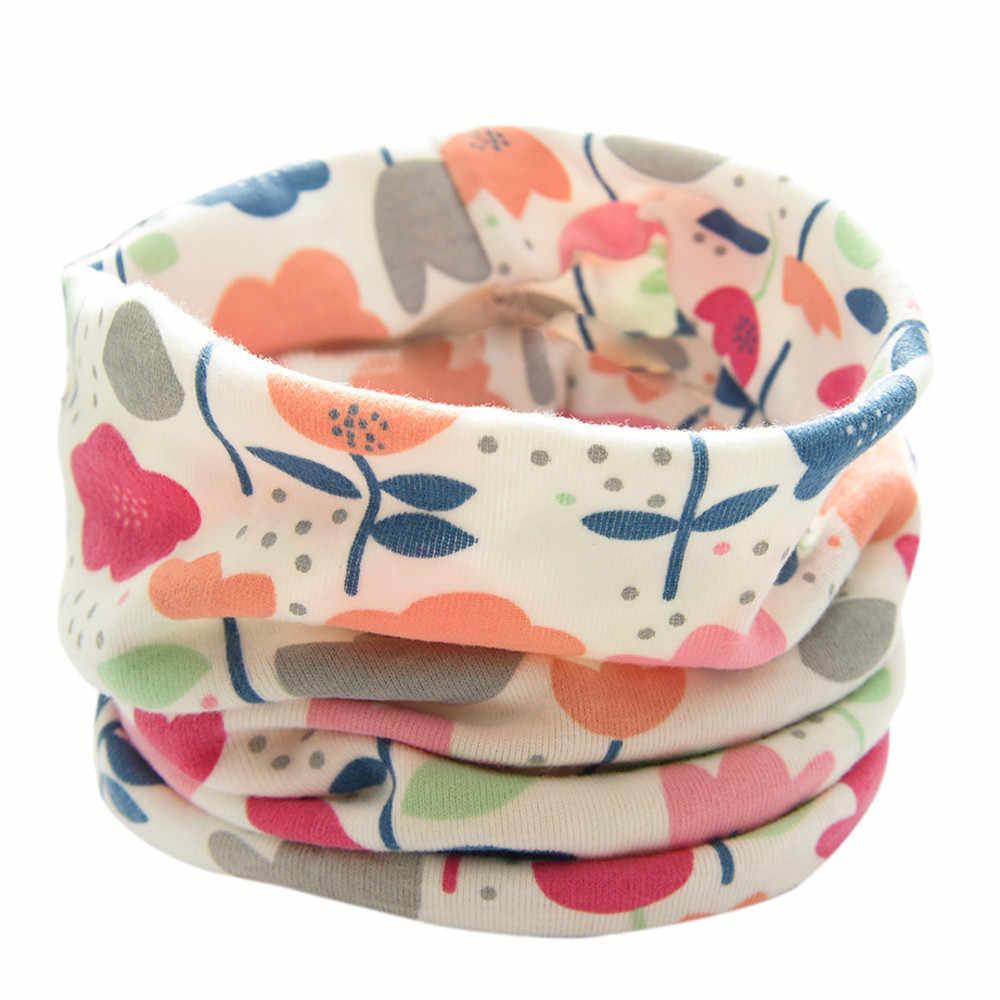 חדש סתיו חורף בני בנות תינוק כותנה רך פרח צעיף כותנה O טבעת צוואר צעיפים