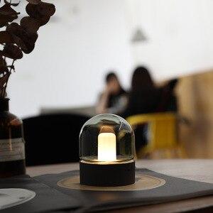 Image 2 - 빈티지 유리 야간 조명 USB 충전 레트로 향수 데스크탑 전구 분위기 호흡 Dimmable Nightstand 램프 침실 Decro