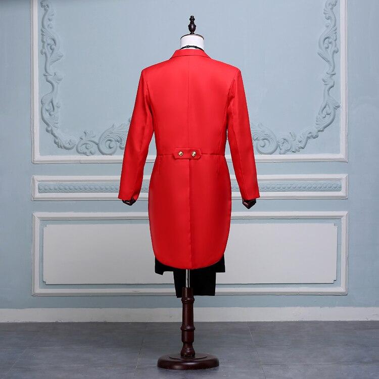Spectacle Hommes Hôte Mariage Avec Chanteur Mens Black Pantalon Noir De white red Rouge Pantalons Smoking Blanc veste Costumes Classique Tailcoat Cérémonies YxwX1aqY