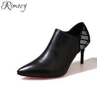 Rimocy 뾰족한 발가락 하이힐 여성 발목