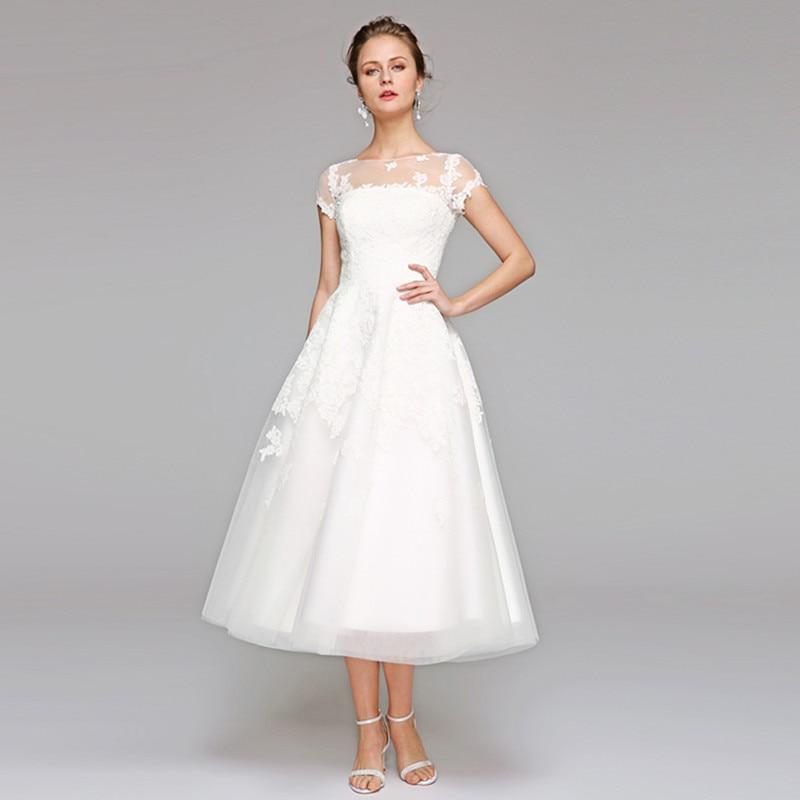 LAN TING BRIDE Simple A Line Illusion Wedding Dress O Neck