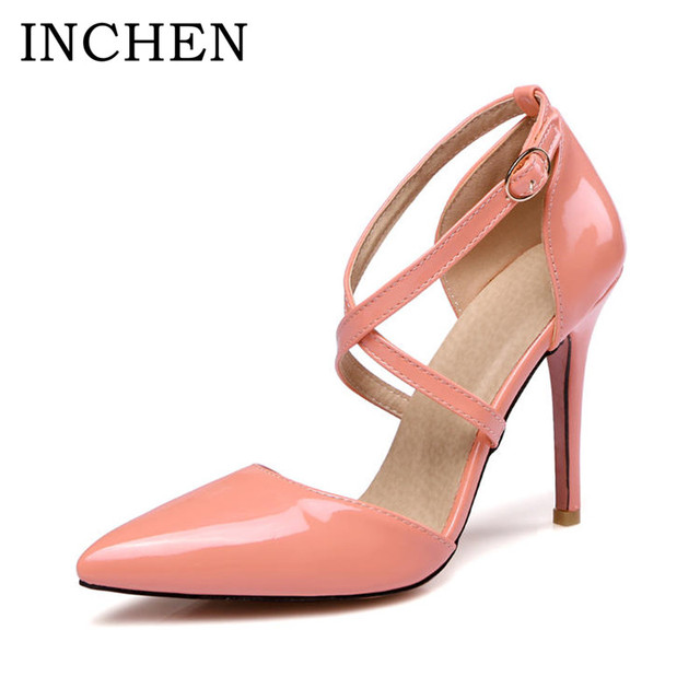 INCHEN 10cm high heels women pumps Pointed Toe thin heels pumps classic yellow nude white sexy party wedding shoes woman P1723