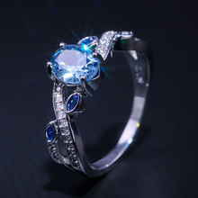 Engagement Acid Blue Cubic Zirconia Rings for Women Fashion X Shape Silver Micro Pave CZ Wedding Jewelry Dropshipping