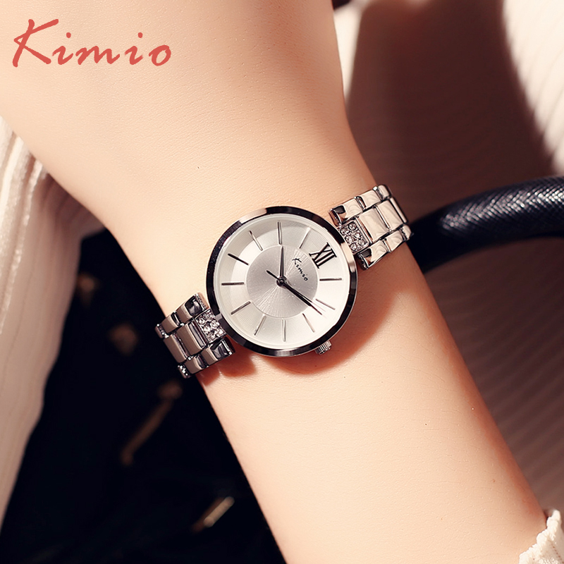 KIMIO Full Steel Women's Watches Luxury Rhinestone Bracelet Watch Waterproof Quartz Wristwatches Girls Dress Clock Montre Femme