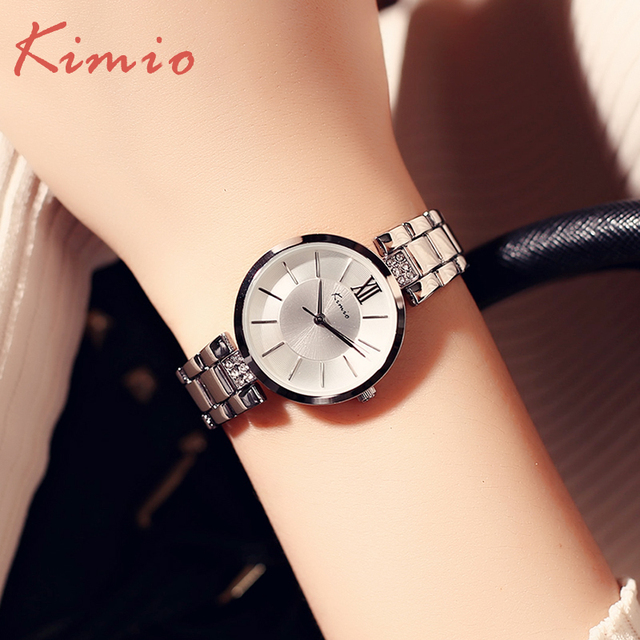KIMIO Full Steel Women's Watches Luxury Rhinestone Bracelet Watch Waterproof Qua