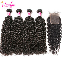 Vanlov Water Wave Bundles With Closure Brazilian Hair Weave Bundles With Closure 100% Human Hair Bundles With Closure Remy Hair(China)