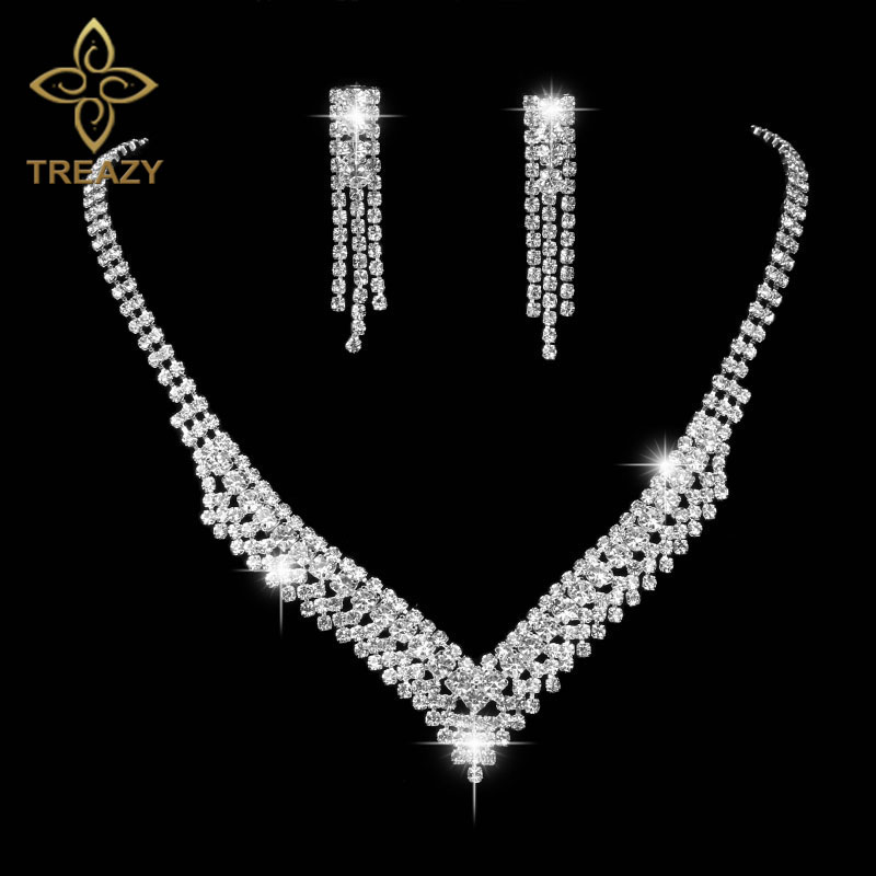 TREAZY V Shaped Crystal Bride Jewelry Sets Silver Color Rhinestone Choker Necklace Sets Bridal Wedding Jewelry for Women