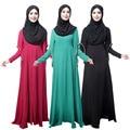 Nueva Ropa de Las Mujeres Musulmanas Vestido largo hijab Islámico Turco Pavo Túnica Musulmana de manga Trompeta vestidos de Dubai kaftan Negro