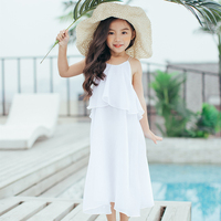 Summer Large Girls Dress 4 10 Year Kids Vest Chiffon White Dress Solid Color Casual Party