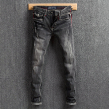 Italian Style Vintage Men Jeans Black Gray Color Fashion Design Slim Fit Ripped Jeans For Men Denim Pants Classical Jeans homme цена в Москве и Питере